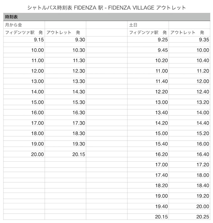 フィデンツァヴィレッジ時刻表